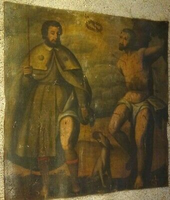 Large 16th 17th Century Spanish Old Master Saint Sebastian & St Roch Antique