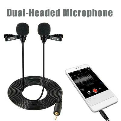 Lavalier Lapel Microphone Dual Headed Recording Clip On Mic Mini Microphone