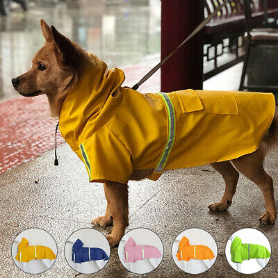 UK Pet Dog Coat Reflective Waterproof Jacket Vest Raincoat Clothes Dog Rain Coat