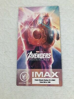 Avengers Infinity War Collectible IMAX ticket