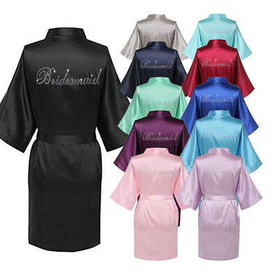 Satin Personalized Wedding Robe Bridesmaid Bride Mother_Child Silk Dressing Gown