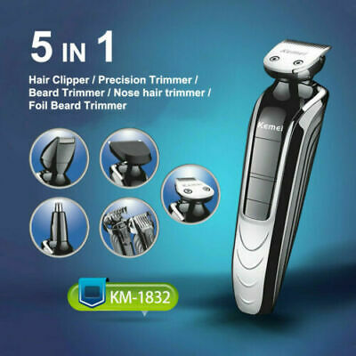 Kemei 5 in1 Electric Men Clipper Hair Trimmer Shaver Beard Haircut Waterproof
