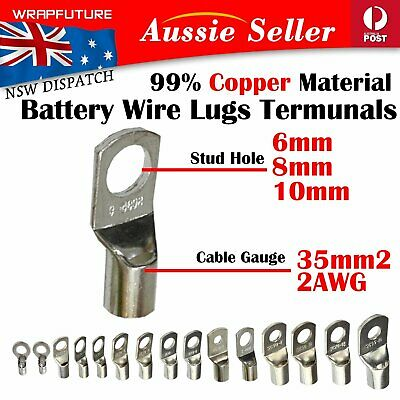 Tinned Copper Cable Lugs 35-6mm 35-8mm 35-10mm Wire 35mm2 2AWG 2B&S Connectors