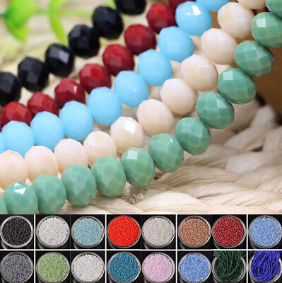Wholesale 2/3/4/6/8/10mm Rondelle Faceted Crystal Glass Loose Spacer Beads Yc