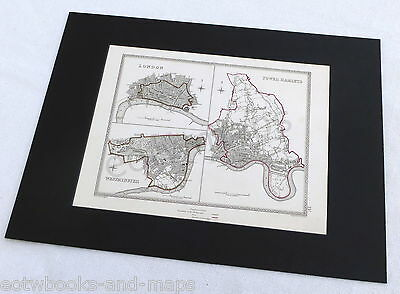 LONDON - CITY, WESTMINSTER, TOWER HAMLETS, 1835 - Original Antique Mounted Map.