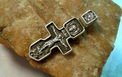 Vintage Sterling Silver Orthodox Crucifix Holy Face, Mother Of God, St. Seraphim