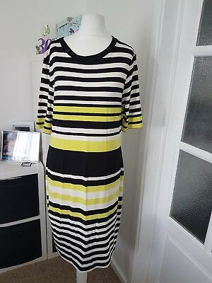 """Ladies """"Marks & Spencers"""" Black, White & Lime Mix Patterned Dress (Size 12)"""