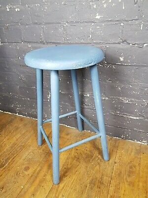 Vintage Distressed Old Painted Solid Wood Stool - Home/Kitchen/Cafe Decor