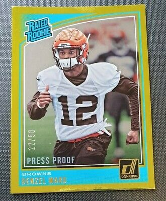 Donruss NFL 2018 Denzel Ward Browns Press Proof Gold Rated Rookie /50