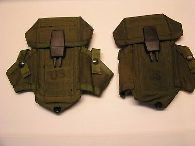 *One US Army OD 3 Magazine Ammo Pouch With Alice Clips New