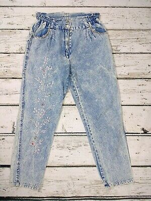 Vintage 90s Acid Wash Embroidered High Waist Stretch Mom Cropped Jeans W30