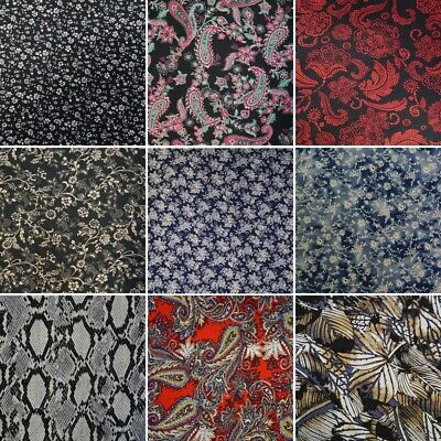 100% Viscose Fabric Summer Dress Floral Flower & Tribal Collection 140cm Wide
