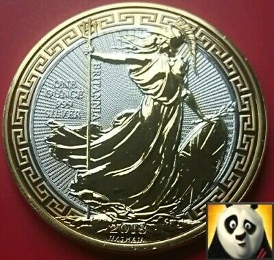 2019 UK £2 Two Pounds Britannia with Border Silver .999 + 24k Gold Plated Coin *
