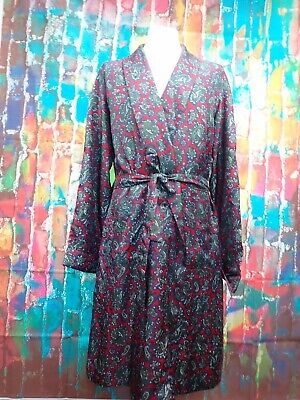 U48 Mens Vintage St Michaels Tricel Paisley Robe Red/Blue Dressing Gown Size Lar