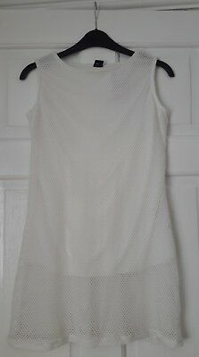 Bnwt Next Cream Off White Long Top Size 6 Summer Mesh 2 Layers Vest Sleeveless