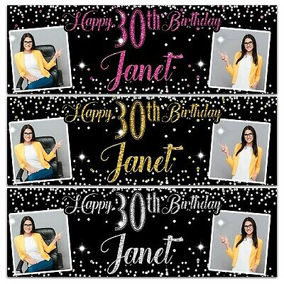 2 personalised birthday banner Photo Silver Gold Pink party wedding poster