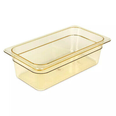 "Cambro 34HP150 H-Pan 4"" Deep Amber High Heat Hot Food Pan 1/3 Size (6 per case)"