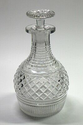 English 19th Century Antique Cut Glass Mallet Shaped Decanter & Stopper.