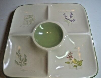 "Sonoma Herb Garden Chip Dip Divided Square Serving 12"" Platter Dish Plate Bowl"