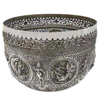 Antique Burmese Silver Pierced Bowl, Maung Hywet Nee, Rangoon  Burma – Late 19Th
