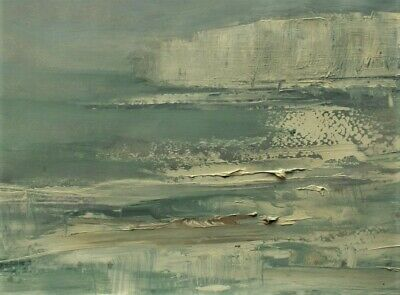Original Signed Impressionist Abstract Winter Seascape Cliffs Oil Painting Paper