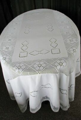 "LARGE TABLECLOTH HAND EMBROIDERED & HAND CROCHET-58""x80"""