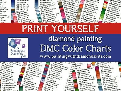 photograph about Free Printable Dmc Color Chart titled PRINT On your own DMC Shade Charts Diamond Portray Drill Shade