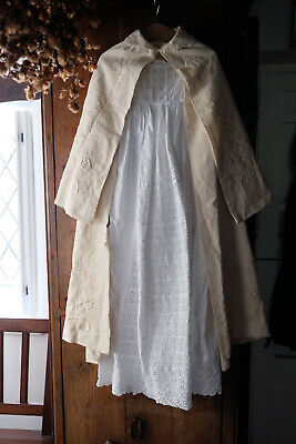Antique Baby Christening Gown and Cape Edwardian Victorian Embroidered Baptism