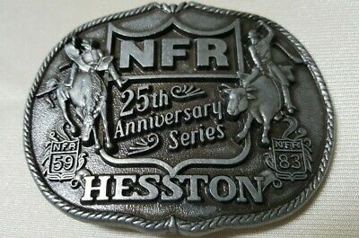 Vintage 1983 Hesston National Finals Rodeo 25th Anniversary Buckle Used VGLN