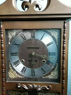 PRESIDENT 31 Day Pendulum wall clock.Chiming Clock used vintage with key