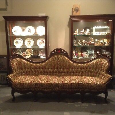 Antique Victorian Camel Back Floral Style Sofa   JUST LOWERED TO SELL!