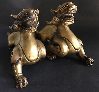 Antique Vintage Chinese Bronze Pair Pixiu Bixie Figures Scroll Weights