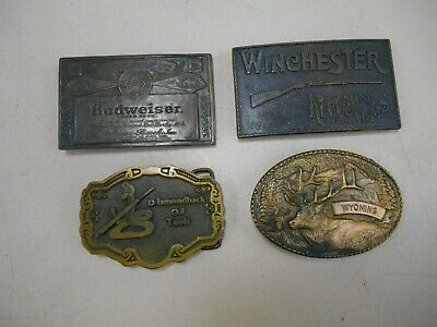 4 Belt Buckles- Winchester, Budweiser, Wyoming, Diamondback Oil Tools
