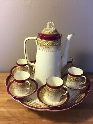 Antique Royal Worcester Turkish Coffee Set On Stand    c 1888
