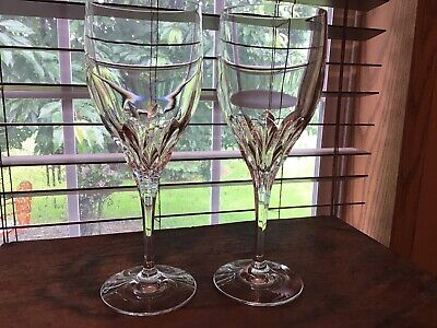 2 Signed Gorham Crystal Diamond Clear Water Wine Goblets Glasses