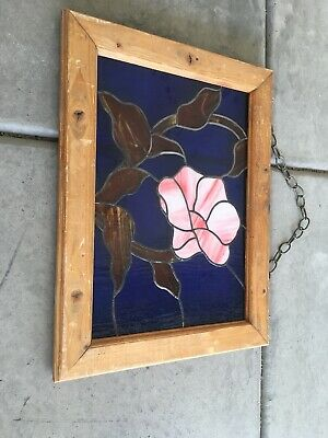 Stained Glass Picture Window Leaded Tulip Flower 24.5 X 18.5 Hanging Chain