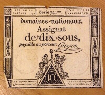 French Revolution Banknote. Ten Sous. Assignat. Dated 1792. France.