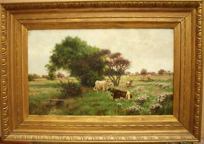 Fine 19th CENTURY CATTLE WATERING IN RIVER MEADOW Antique Oil Painting PIKE