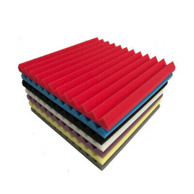 """96Pack Acoustic Foam Panel Soundproofing Wedge Wall 12"""" X 12"""" X 1"""" Black Studio"""