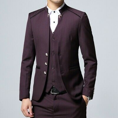 Mens Slim Stand collar Chinese tunic suit 3PCS Blazer jackets Vest pants Formal