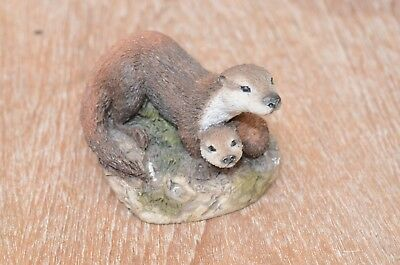 """Otter Duo Figurine - Mother and Pup - 4"""" by 3 1/2"""" by 3"""" Felted Bottom 532"""