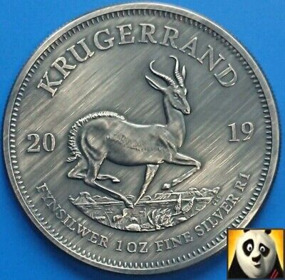 2019 South Africa Krugerrand Springbok Antique Finish 1 Oz Fine .999 Silver Coin