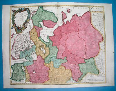 1784 Rare Remondini Original Map Russia Estonia Latvia Finland Moscow Petersburg