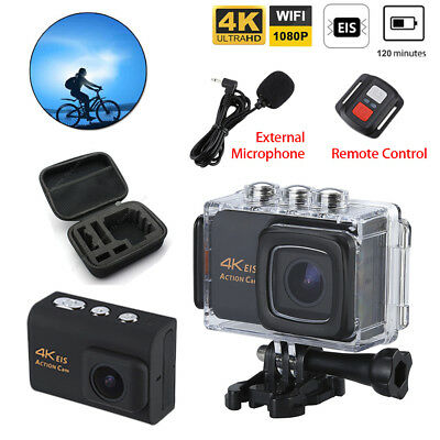4K WiFi HD EIS Sport Pro Action Camera Cam Waterproof w/ Mic/Remote/Storage Bag