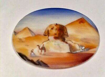 Vintage Egyptian Revival Sphinx Cabochon Hand Painted