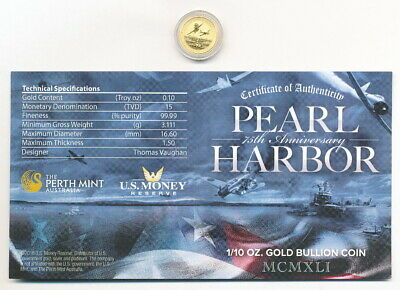 2016-P Gold $15 Pearl Harbor 75Th Anniversary 1/10Th Oz .9999 Fine Perth Mint