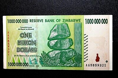 "Zimbabwe ""Good Used"" One Billion Dollars Banknote ~ Buy It Now Only £1.99"