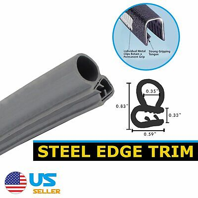 16Ft Car Door Protect Soundproof Seal Edge Rubber Trim Lok Bulb Gray All Weather