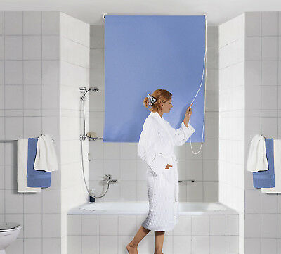 Shower Roller Blind Light Blue 140x240 cm with String Wall Partition