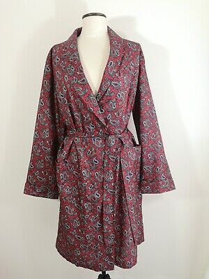 Mens Vintage Tootal Red Paisley Dressing Gown Robe Smoking Jacket Dandy Medium
